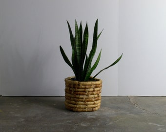 Mid Century Modern Rattan Planter Basket
