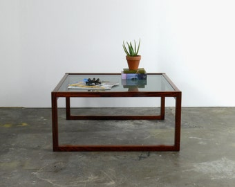 Danish Modern Rosewood Coffee Table with Frosted Glass Top