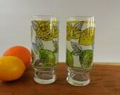 Pair Libbey Drink Glasses Tumblers - Yellow Green Lime Lemon Citrus