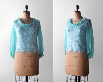 60 sequin top. s. 1960's green blouse. beaded. chiffon. aqua. 60's scalloped blouse. blue