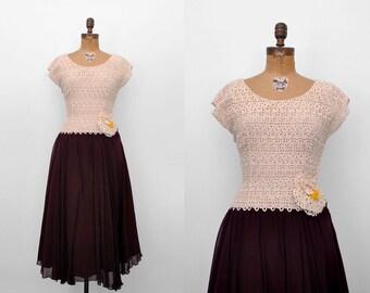 40's chiffon dress. cream lace dress. 1940 lace gown. brown cream dress. 40 burgundy dress.