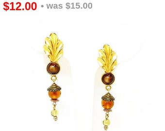 Boho Dangling Tigers Eye & Feather Clip on Earrings Signed Civilized and Savage -  Woodland Festival Hippie Earrings