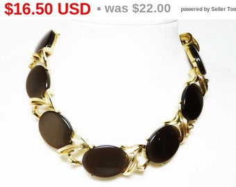 Brown Thermal Set Necklace - Vintage Oval Chocolate Brown Lucite Mid Century Modern Jewelry