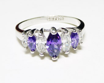Sterling Silver Ring - Purple & White Marquis CZ Rhinestones - Vintage Signed RSC 925
