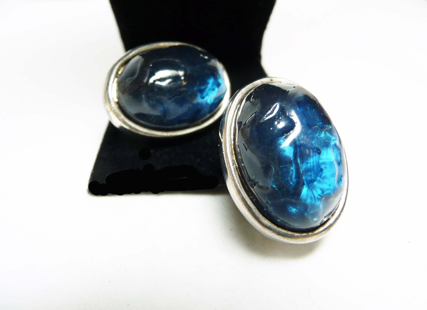 blue oval clip on earrings lucite baroque style molded