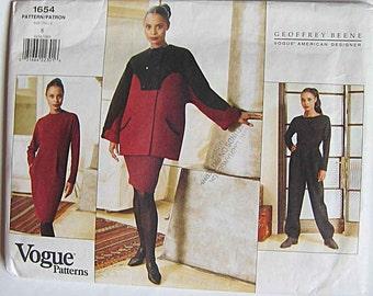 Geoffrey Beene Misses' Coat, Dress, Top & Pants Vogue 1654 Sewing Pattern UNCUT Size 8, American Designer