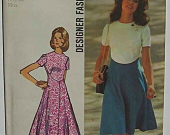 Retro 70's Color Block Dress Vintage Designer Fashion Simplicity 9912 Sewing Pattern UC Misses' Size 16