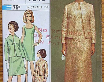 Vintage 60's Misses' Elegant Dress and Jacket, Designer Fashion, Simplicity 7348 Sewing Pattern Size 12