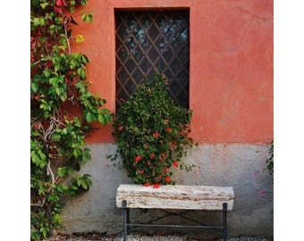 """Fine Art Color Travel Photography of Tuscany - """"Bench and Window at a Tuscan Farmhouse"""""""