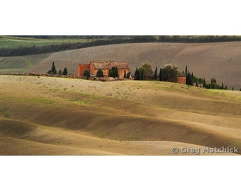 """Fine Art Color Landscape Photography of Tuscany - """"Farmhouse and Contours of the Tuscan Landscape"""" (Italy)"""