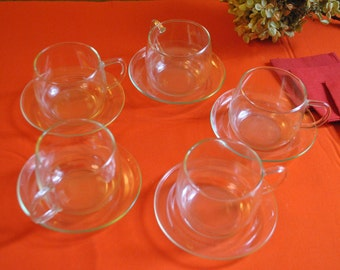 Midcentury Clear Glass Tea Cup & Saucer Set