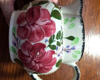 Vintage Pitcher Pottery Blue Ridge China Pitcher Southern Potteries Inc. Hand Painted Shabby Chic Milk Pitcher Floral Pitcher Made in USA