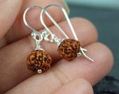 Rudraksha Earrings, Sterling Silver Hoop Rudraksha Jewelry, Yoga Meditation Prayer Beads Earrings