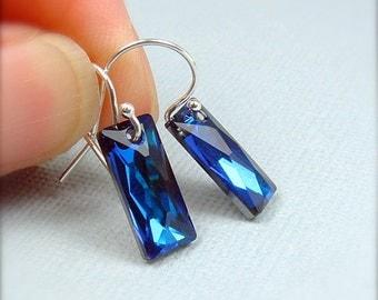 Swarovski Blue Earrings, Blue Rectangle Earrings, Blue Crystal  Earrings, Bermuda Blue Baguette Earrings, Holiday Party Earrings