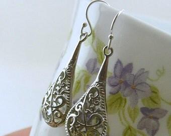 Jewelry, Earrings, FlowerJewelry, Flower Earrings , Silver Dangle  Filigree Filigree Drop Earrings, Filligree Jewelry, Gift For Her