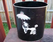 Vintage Adorable Black Metal Ransburg Poodle Waste Basket Trash Can