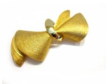 "Guy Laroche Paris Brooch Gold Bow 2 1/8"" Designer Pin Vintage Paris"
