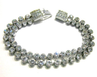 Vintage Clear CZ Bracelet Rhinestone Clasp Vintage Jewelry Set Bridal Wedding Jewelry Gift for Her