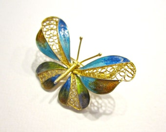 Vintage 800 Silver Gold Vermeil Butterfly Brooch Filigree Enamel Blue Green Gold Pin Butterfly Gift for Her Gift for Mom Under 25