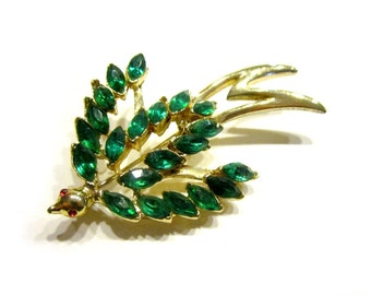Figural Brooch Bird Green Rhinestone Pin
