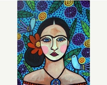 55% Off- Mexican Folk Art - Frida Kahlo Art Poster Print of painting by Heather Galler