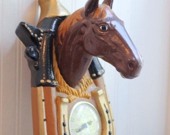 Country Western Horse Wall Clock, Taxidermy Style Horse Head in Collar Harness, Bar or Man Cave Decor, Mid Century Equine Home, Brown Black
