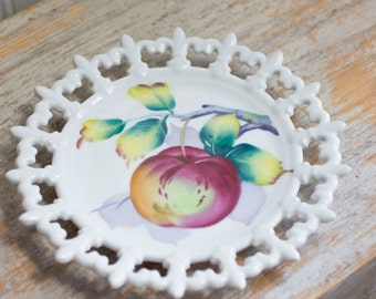 Vintage Lefton Plate, Antique Hand Painted Apple Ribbon Plate, Fruit Theme Kitchen China
