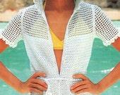 Vintage Crochet Mesh Beach Hoodie Jacket Crocheting Pattern PDF 829 from WonkyZebra