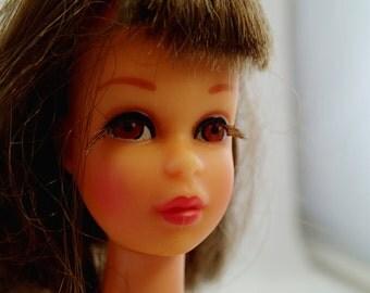 Francie Barbie Friend Made in Japan Brunette Brown Hair Head Doll With Earrings Vintage Mod Mattel