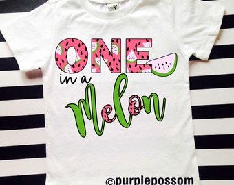 Watermelon Birthday Shirt Girls Birthday Shirt First Birthday Shirt One in a melon Birthday Shirt Summer first birthday 1 birthday shirt