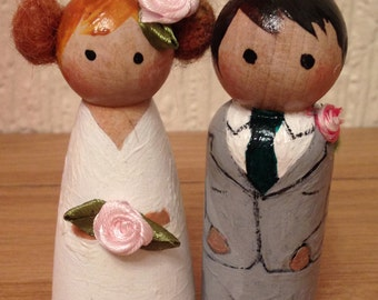 Bride and Groom peg dolls     Cake toppers ,or gifts