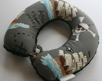 Child Travel Neck Pillow - Pirate's Life w/ Black Minky