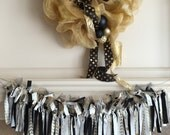 Gold and Black Fabric Banner, Gold Party Decor, Gold Party Supplies, Graduation Fabric Banner, Baby Shower Party Decor,  Bow and Arrow Decor