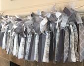 Wedding Fabric, Tulle, and Ribbon Garland, Grey and White Garland, Baby Shower Fabric Garland, Fabric Bunting, Nursery Decor, Birthday Decor