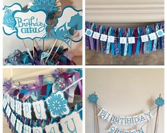 Frozen Birthday Party - Frozen birthday Banner- Frozen Party - Frozen Party Package - Frozen Banner - Disney Birthday - Party Package