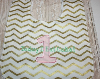 Baby Bib- Today I Eat Cake Baby Bib_ White and Gold Chevron Baby Girl Bib, Minky Baby Bib, Smash Cake Bib, 1st Birthday Bib