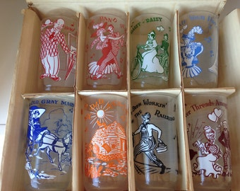 Melody Party Set of 8 vintage glasses