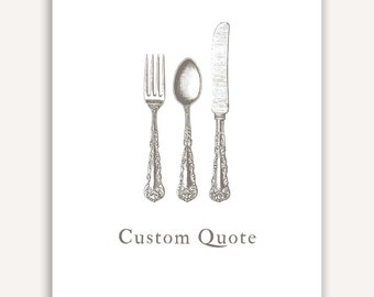 Custom Quote Print, kitchen, dining room, fork, knife, spoon