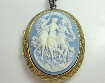 Three Muses, Cameo Locket Necklace,Three Fates,Dancing Sisters,Resin Cameo,Dark Metal Noir, Edwardian Fantasy, Neo Victorian,Gothic Jewellry