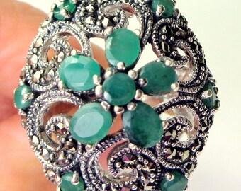PS, SALE, Vintage Ring,Natural Emerald,Marcasite,Neo Victorian Ring,Platinum/Sterling Silver,Ornate Filigree Ring,Edwardian Fantasy,Art Deco