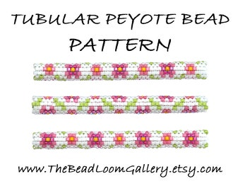 Tubular Peyote Bead PATTERN - Vol. 2 - Floral Design 1 - PDF File PATTERN