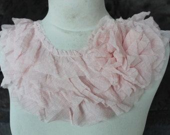 Cute  applique with ruffled and flower baby pink color