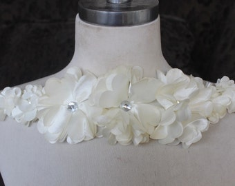 Cute  flower  applique  with rhinestones   1 pieces listing  14 inch long  3 inch wide
