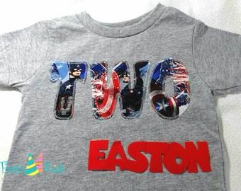 Captain America birthday shirt, Superhero birthday boy shirt, two, three, four, five shirt for boys, boys tshirts, avengers, spiderman