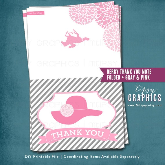 Kentucky Derby Thank You Card. DiY Printable ADD ON. By MTipsy
