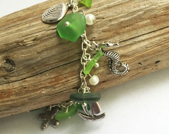 Sea Glass Charm Bracelet - Sea Glass Bracelet, Sea Glass Jewelry, Seaglass Jewelry, Charm Bracelet, Genuine Sea Glass, Green Sea Glass