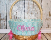 Personalized Easter Basket Liner- Aqua Flower - Girl Easter Basket Liner