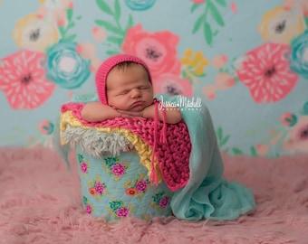 Angora Bonnet -  Newborn Bonnet - Newborn Knitted Angora bonnet - Newborn Photography Props- Baby Knit Angora Hat