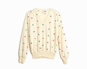 Vintage 70s Velour Polka Dot Sweatshirt / Ivory V-Neck / Polka Dot Pullover - women's small/medium