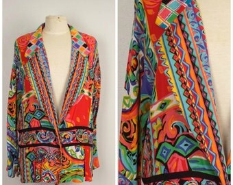 Bright Colorful 80s 90s Jacket Wide Collar Lightweight unstructured watercolor print long jacket Carole Little Large